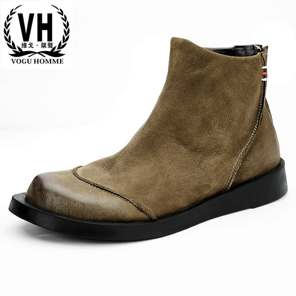 Autumn winter British retro Riding boots men's fashion short boots Genuine leather high top casual shoes army men Chelsea boots  MartLion