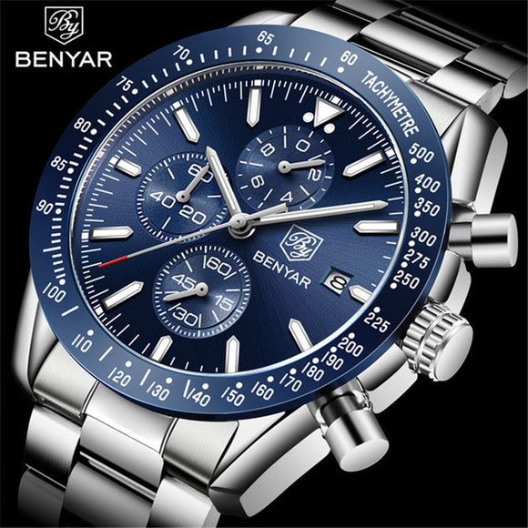 BENYAR 2019 Mens Watches Top Luxury Brand Business Steel Quartz Watch Casual Waterproof Male Wristwatch Relogio Masculino  MartLion.com