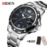 BIDEN Man Watch Stainless Steel Strap Watches Military Watch casual fashion  wristwatches Waterproof Watch man relogio masculino  MartLion.com
