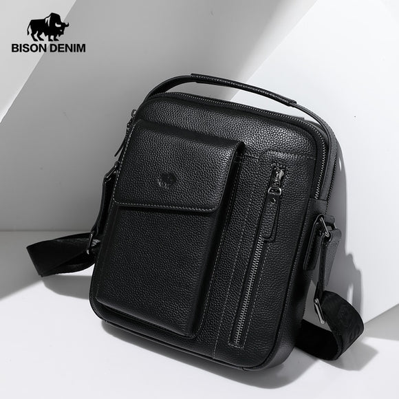 BISON DENIM Genuine Leather Men Shoulder Bag Double Zipper Crossbody Bag for Men Top Handle Male Handbag 9.7