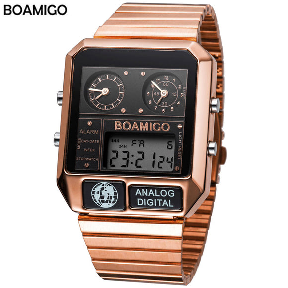 BOAMIGO top brand luxury men sports watches man fashion digital analog LED watches  square quartz wristwatches relogio masculino  MartLion