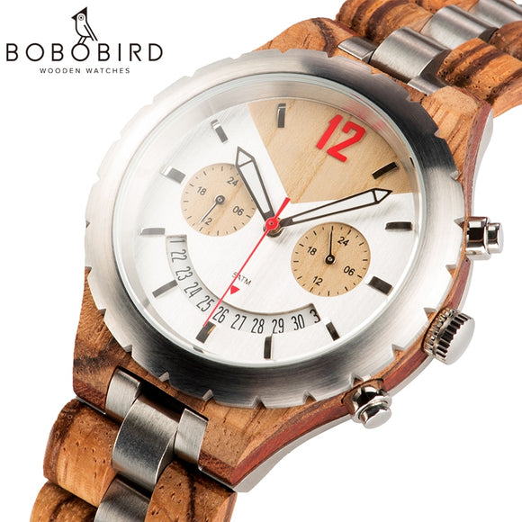 BOBO BIRD Men Watch Luxury Design Multiple Time Zone Clock Wooden Metal Chronograph Watches With Date Display Elegant Timepieces  MartLion.com