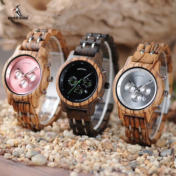 BOBO BIRD Women Wooden Watches Orologio da donna Luxury Wood Metal Strap Chronograph Date Ladies Quartz Watch Timepieces  MartLion.com