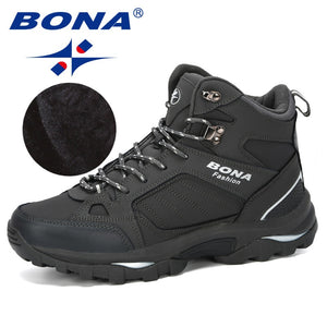 BONA Men Boots Anti-Skidding Leather Shoes Men Popular Comfy Spring Autumn Men Shoes Short Plush Snow Boots Durable Outsole  MartLion.com
