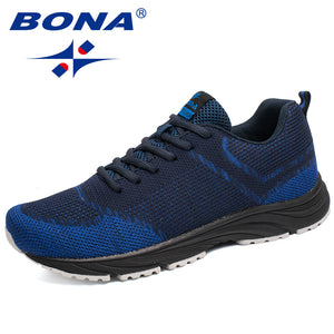BONA New Arrival Popular Style Men Running Shoes Outdoor Walking Comfortable Sneakers Lace Up Cow Leather Athletic Shoes For Men  MartLion