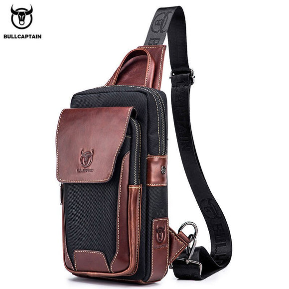 BULLCAPTAIN Hot Men's First Layer Cowhide Casual Fashion Chest Belt Bag Men's Bag Over Shoulder Bag Men's Chest Bag  MartLion