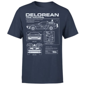 Back To The Future DeLorean Schematic T-Shirt - Navy New T Shirts Funny Tops Tee New Unisex Funny Tops  MartLion