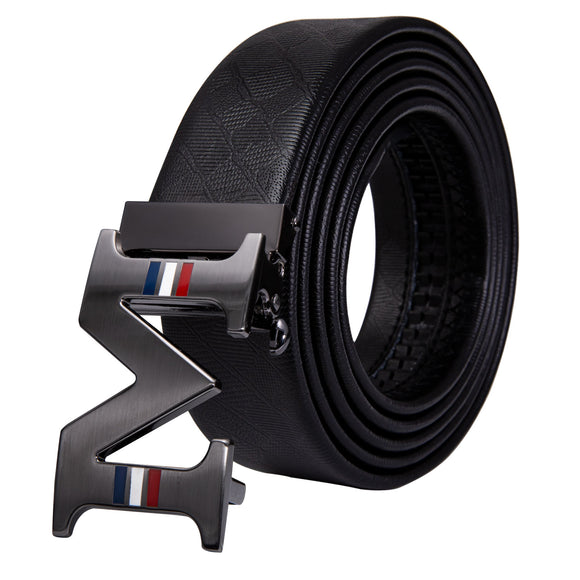 M Letter Buckle Belt for Men Black Leather Belt Gray Automatic Slide Buckle Cowhide Belt Male Stripe Waist Strap