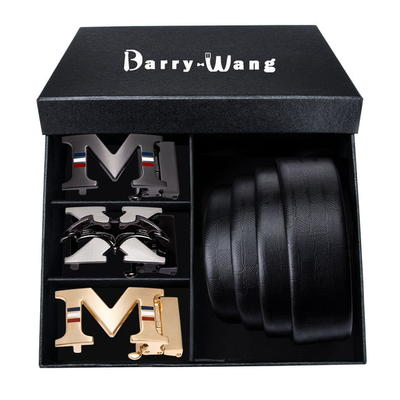 Barry.wang Top Quality Mens Belt 110-160CM Black Strap Genuine 100% Leather Belt Gift Box for Men 3PCS Automatic Buckle Male 3.5