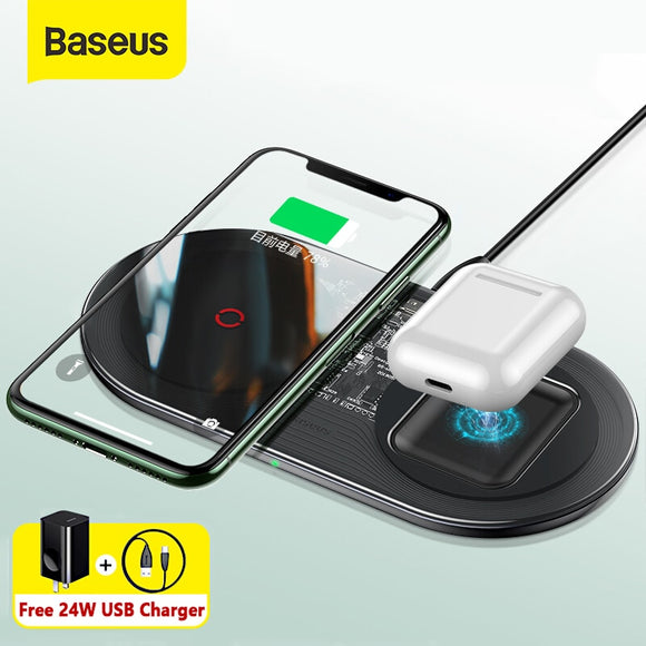 Baseus 20W Fast Qi Wireless Charger For Airpods iPhone 11 Pro Dual Wireless Charging Pad For Samsung S20 S10 Wireless Charger
