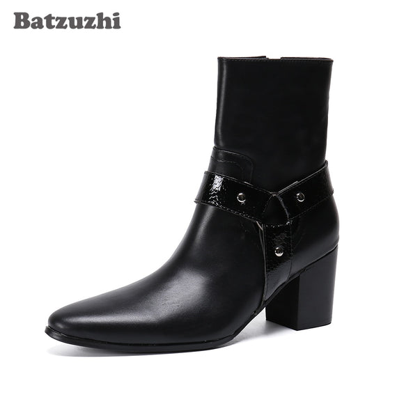 Batzuzhi Men Boots New Black Leather Ankle Boots Men 7.5cm High Heels Pointed Toe Ankle Boots for Men Wedding & Party,Size 38-46