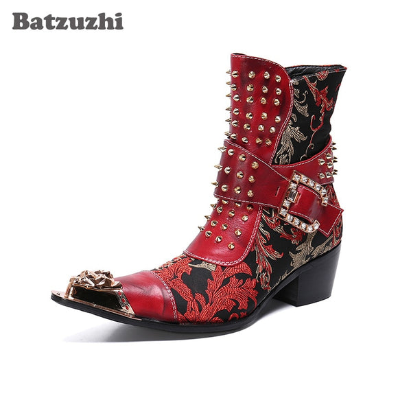Batzuzhi Western Boots Men Rivets Punk Motorcycle Boots Men Party and Wedding Botas Hombre Metal Tip Cowboy Ankle Boots Men