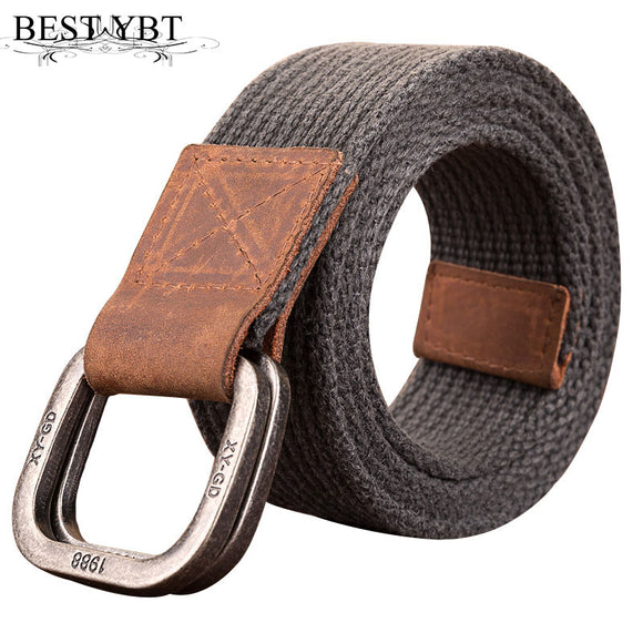 Best YBT Unisex Canvas belt retro washed Alloy double ring buckle canvas belt casual fashion Men cowboy pants women Belt - Mart Lion  Best shopping website