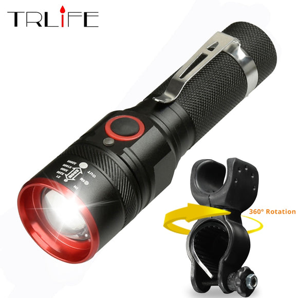 Bike Light Ultra-Bright 8000 Lumens Zoom T6 Bicycle Front LED Flashlight Lamp USB Rechargeable Cycling Light By 18650 Battery  MartLion