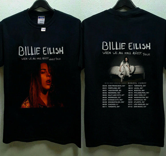 Billie Eilish World Tour 2019 with Special Guest DENZEL CURRY T-Shirt Size S-3XL Summer Short Sleeves Cotton Fashiont T Shirt - Mart Lion  Best shopping website