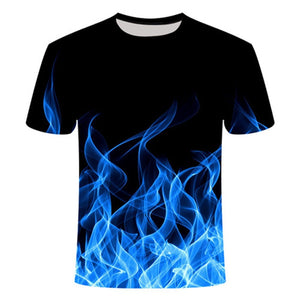 Blue Fire Classic Series Men 3d t-shirt Poker flame O-Neck Short 3D Printed  Women Tee High quality Top bodybuilding Elastic Tee  MartLion