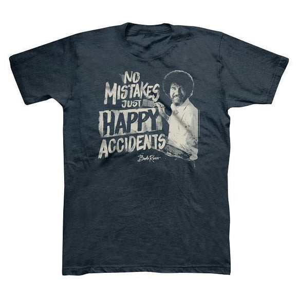 Bob Ross No Mistakes, Just Happy Accidents Men's T-shirt - Navy Blue - Pick Size Classic Quality High t-shirt Style Round tshirt  MartLion