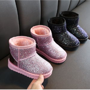 Boots Girls 2019 Winter Kids Baby Shoes Children's Boys Vintage Warm Bling Waterproof Plush Snow Boots Girl Bootie Child Shoes  MartLion.com
