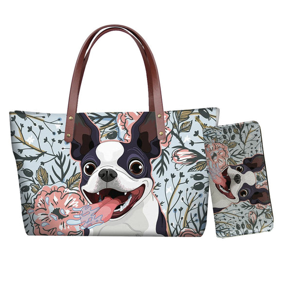 Boston Terrier Shoulder Bag Women Travel Large Capacity Female Handbags Tote Bag with Lone Leather Purse 2pcs Free Dropship 2021