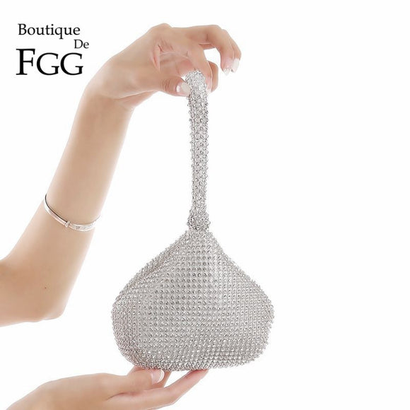 Boutique De FGG Sparkling Silver Diamond Women Mini Evening Clutch Wristlets Bag Bridal Wedding Party Crystal Handbag and Purse  MartLion