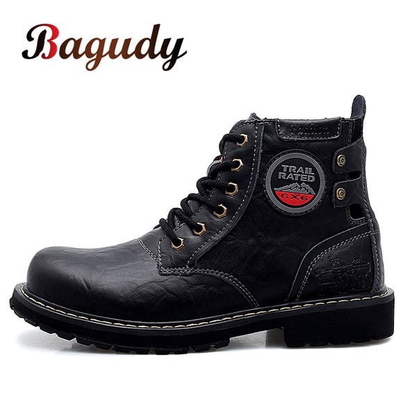 Brand Autumn Winter Men Genuine Leather Boots Fashion Motorcycle Boots Men Cow Leather Ankle Boots Outdoor Working Snow Boots 46  MartLion