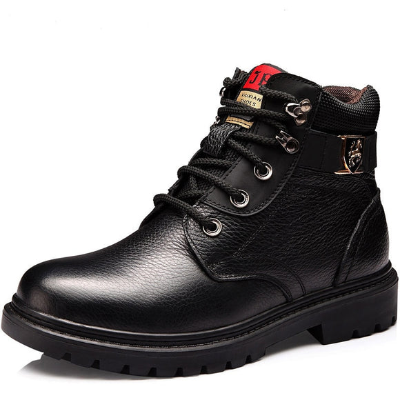 Brand Genuine Leather Men Shoes Autumn Winter Men Boots Fashion Vintage Style Male Motorcycle Shoes High-Cut Men Casual Shoes  MartLion
