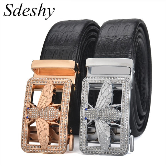 Brand Luxury Belt For Men Genuine Leather Waist Belt Women Shiny Gold/Sliver Bee Design Buckle Waist Straps