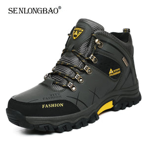 Brand Men Winter Snow Boots Waterproof Leather Sneakers Super Warm Men High Quality Outdoor Male Hiking Boots Work Shoes 39-47  MartLion