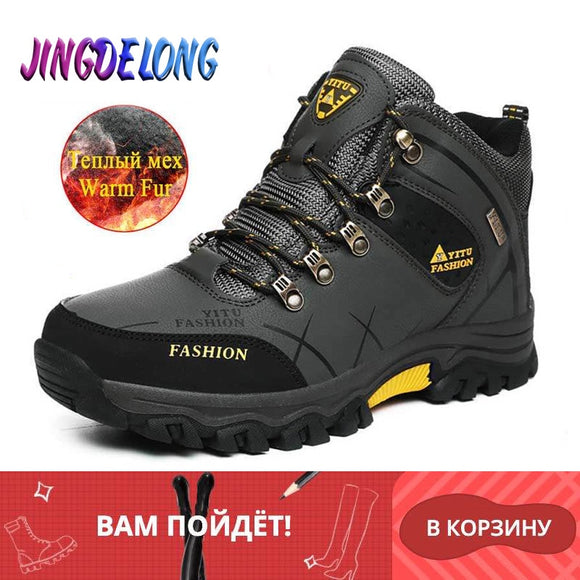 Brand Men's Boots Winter Men Shoes Plush Warm Men Snow Boots Waterproof Leather Sneakers Outdoor Mens Boots Winter Warm Boots