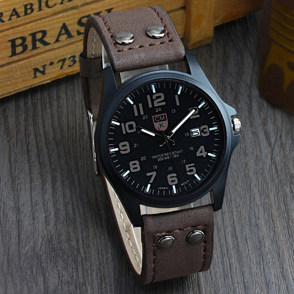 Brand men watch New mans clock Men's Date Leather Strap watches Sport Quartz Military Wristwatch relatio masculine 4 color  MartLion