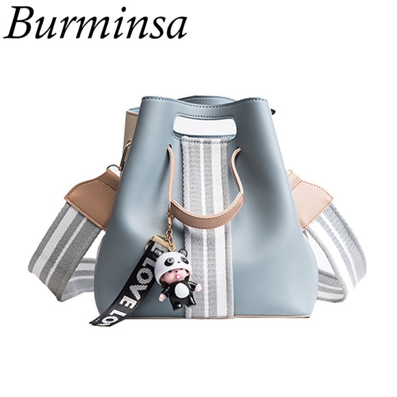 Burminsa Cute Bucket Shoulder Bag Small Wide Guitar Belt Girls Designer Handbag High Quality PU Leather Women Messenger Bag 2019  MartLion
