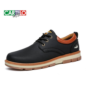 CARTELO Casual Men's Shoes Men's Sports Low-top Shoes Men's Korean Lace-Up Tooling Martin Men's Boots Black  MartLion