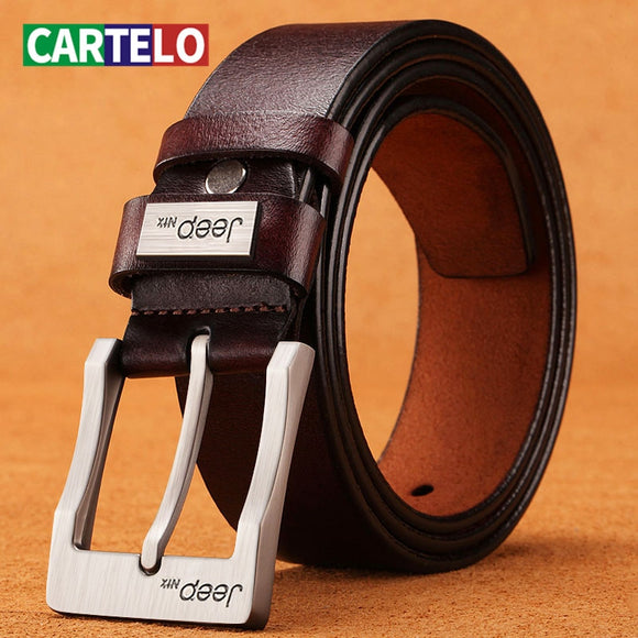CARTELO Cow Genuine Leather Luxury Strap Male Belts For New Fashion Classice Vintage Pin Buckle Men Belt High Quality Large size