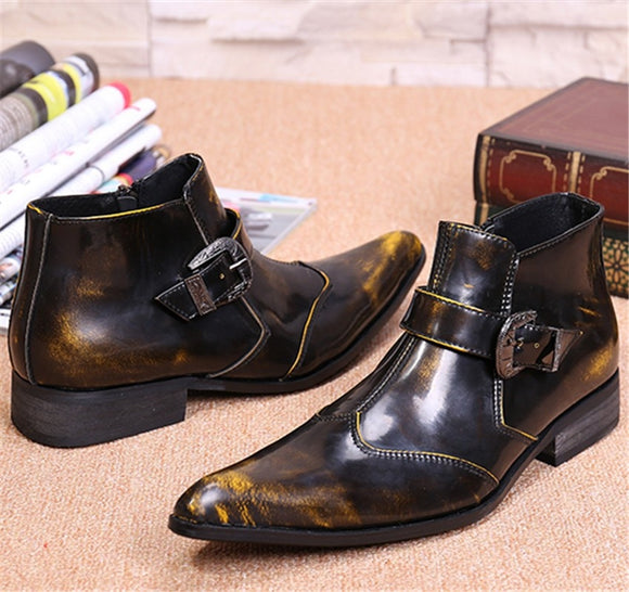 CH.KWOK Bronze Genuine Leather Men Ankle Boots Pointed Toe Autumn Military Boots Wedding Shoes Cowboy Boots Work Booties  MartLion