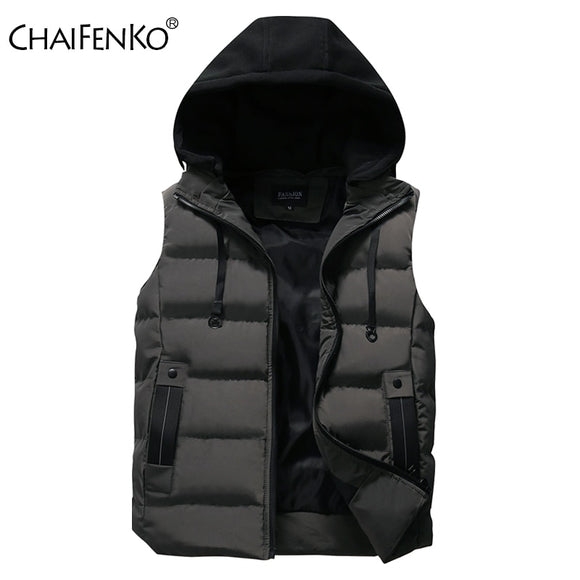 CHAIFENKO Men's Vest Jacket Winter Waterproof Warm Sleeveless Men Jacket Fashion Hooded Casual Vest Men Autumn Thicken Waistcoat  MartLion