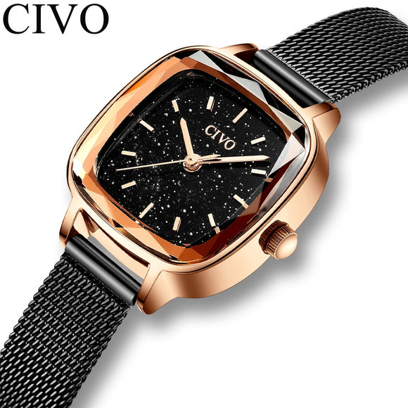 CIVO Fashion Women Quartz Watches Ladies Top Brand Wrist Watch Female 30m Waterproof Mesh Strap Girl Clock Relogio Feminino 8102  MartLion.com