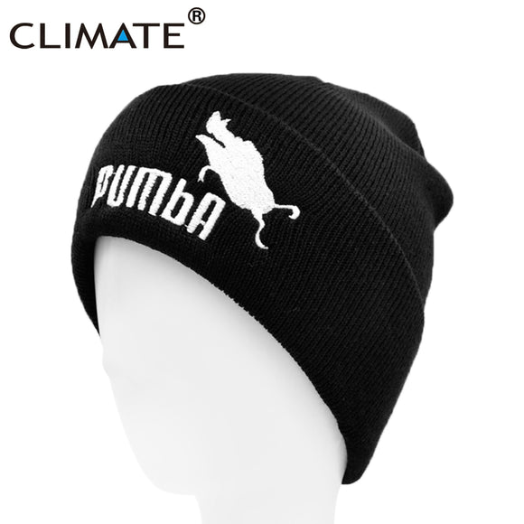 CLIMATE Funny Beanie Hat Lion King Pumba Winter Warm Knitted Hat Hakuna Matata Cool Black Knitted Winter Hat for Men Women