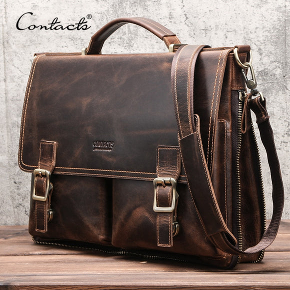 CONTACT'S Men Briefcase Bag Crazy Horse Leather Shoulder Messenger Bags Famous Brand Business Office Handbag for 14 inch Laptop  MartLion.com