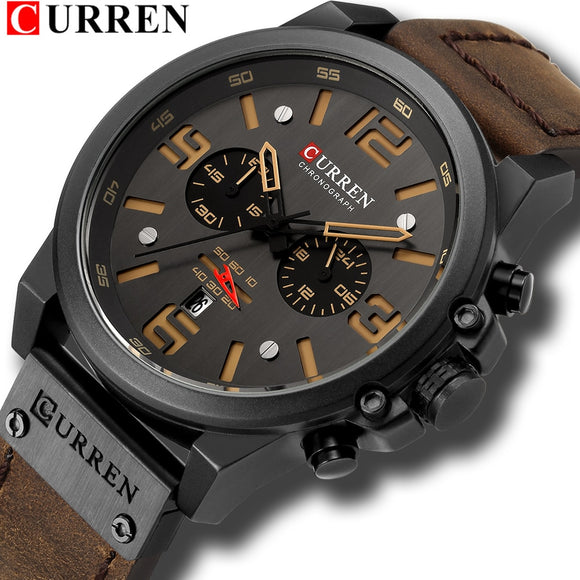 CURREN Mens Watches Top Luxury Brand Waterproof Sport Wrist Watch Chronograph Quartz Military Genuine Leather Relogio Masculino  MartLion.com