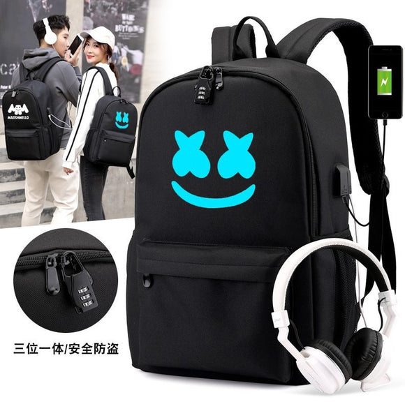 Canvas Luminous Waterproof DJ  Anti-theft Laptop Backpack for Teenager Boys Girls Student School Backpack Men Womenbag