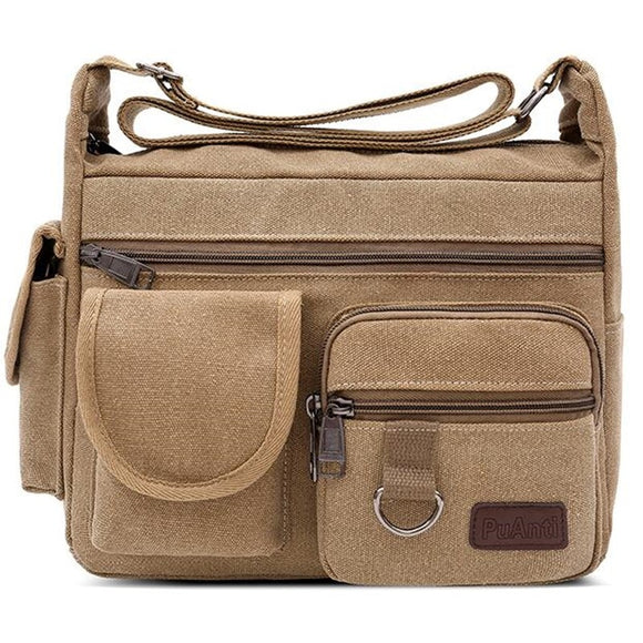Canvas Messenger Bag for Men Vintage Water Resistant Waxed Crossbody bags Briefcase Padded Shoulder Bag for Male Handbag  MartLion.com