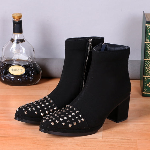 Chelsea Boots Men Genuine Leather Mens Ankle Boots Rivets Thick Heels Men Shoes Cowboy Boots Men High Heel Round Toe Shoes