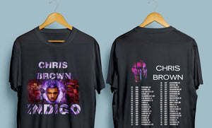 Chris Brown Indigo Tour 2019 with Dates Men's Black T-Shirt Size : S - 3XL T-Shirt For Men/Boy Short Sleeve Cool Tees - Mart Lion  Best shopping website