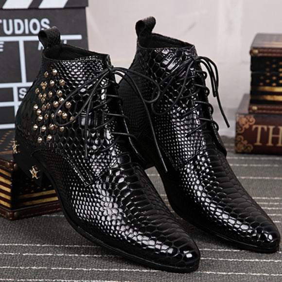 Winter Handmade Fashion Man Serpentine Real Leather Rivet Ankle Boots Party Men's Motorcycle Zipper Short Shoes  MartLion