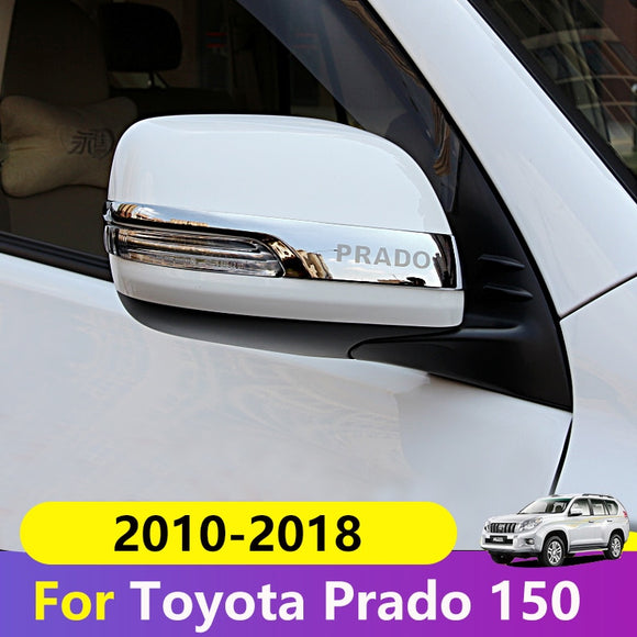 Chrome Car Rearview Mirrors Cover Trim Strip Sticker For Toyota Land Cruiser Prado 150 2010-2016 2017 2018 Exterior Accessories  MartLion