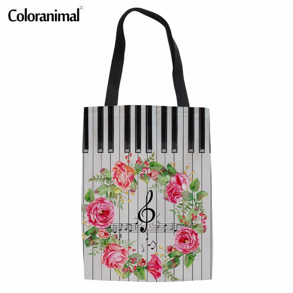 Coloranimal Women Reusable Casual Canvas Bags 2018 Fashion Design Music Notes with Piano Keyboard Print Hand Linen Shopping Bags  MartLion
