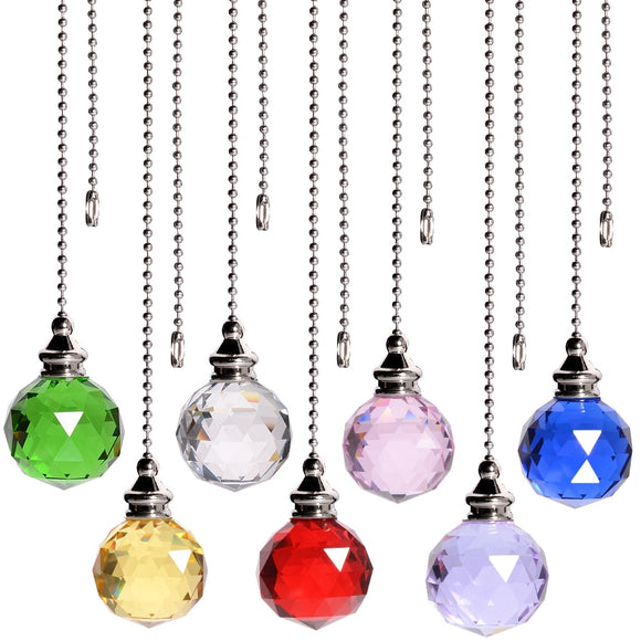 Colorful Crystal Ball Ceiling Window Hanging Suncatcher With Ball Chain Light Cord Fan Pull Handle Ball Pendant Wholesale