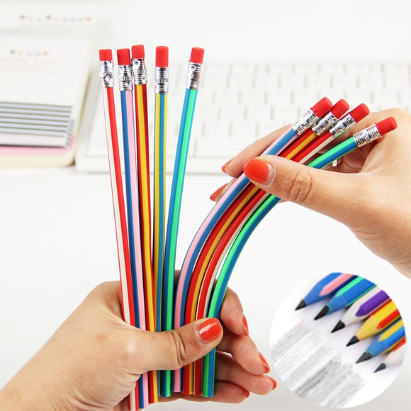 Creative Colorful Magic Bendy Flexible Soft Pencil with Eraser Stationery Student Colored Pencils School Office Supplies - Mart Lion  Best shopping website
