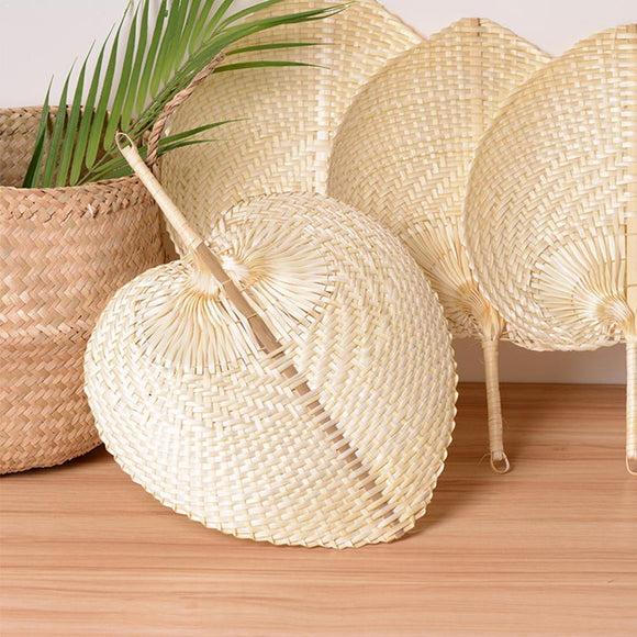 Creative Manual Bamboo Hand Fan Heart Shaped Bamboo Gift Summer Cooling Portable Woven Party Fan Supplies Diy Fan Wedding D L1R5