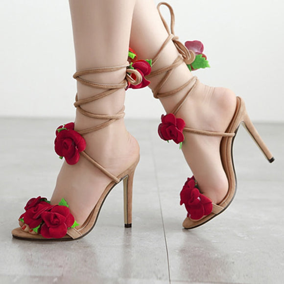 Cross Bandage High Heels Sandals Women Pumps Thin Heel Rose Flower Lace-Up Summer Shoes Fashion Pompes De Femme